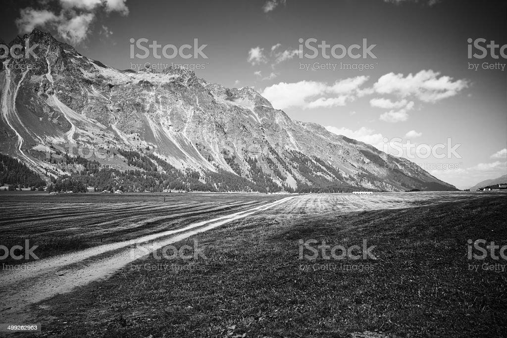 Country Road around Sils lake (Switzerland) stock photo