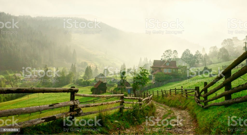 Country Road  at dawn,  Vorokhta,   Carpathian Mountains, Ukraine. Toned image royalty-free stock photo