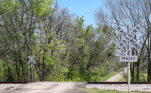 country road at railroad crossing