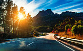 Car travelling and scenic desert road.Adventures and destination concept.