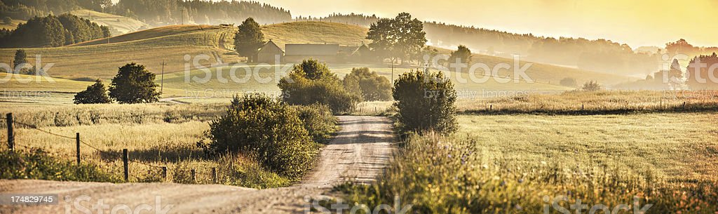 Country Road between Rolling Hills- Sunset Farmland Landscape 46 Mpix royalty-free stock photo