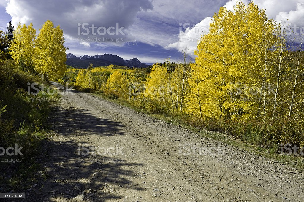 Country Road Fall Colors San Juan Mountains Colorado royalty-free stock photo