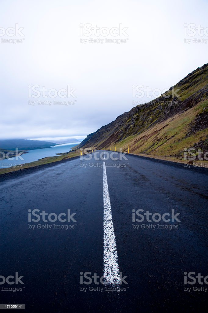Country Road Fjord Iceland royalty-free stock photo