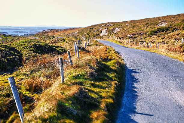 Country Road in Clifden, Ireland stock photo