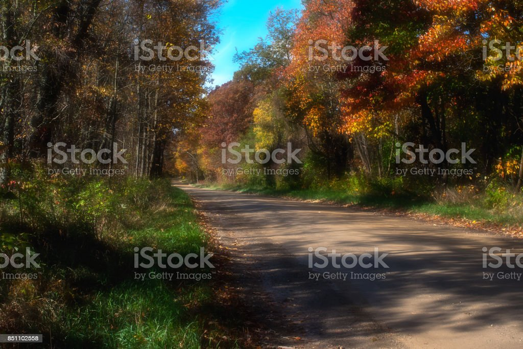 Country Road in Fall stock photo