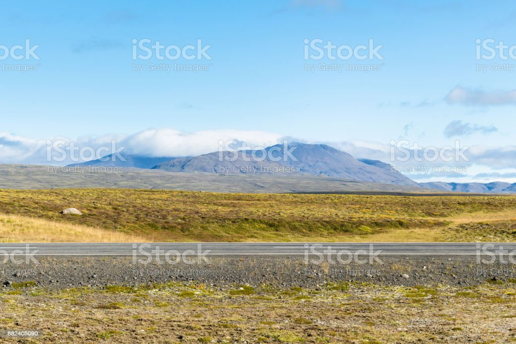 country road in Iceland in sunny september day stock photo