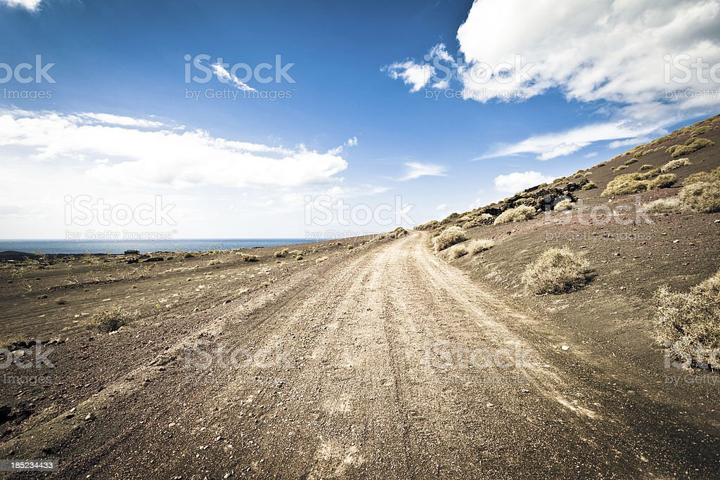 Country Road in Lanzarote, Canary Islands royalty-free stock photo