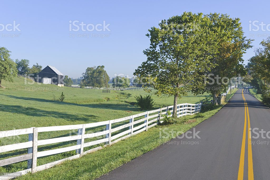 Country Road in Rural Farm Land at Morning stock photo