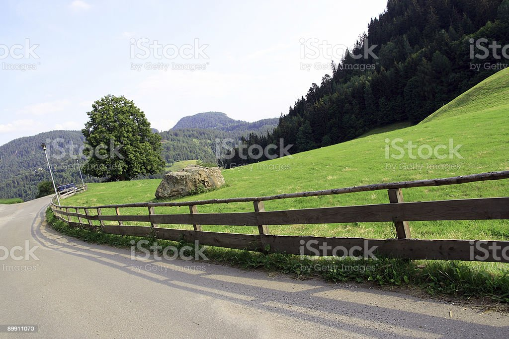 Country road in the Alps royalty-free stock photo