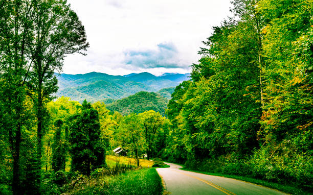 Country Road in the Appalachian Mountains stock photo