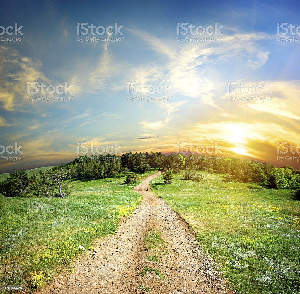 Country road in the mountains royalty-free stock photo