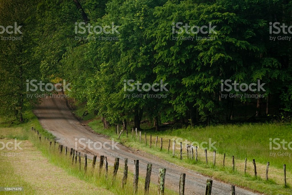 Country road in the Smokies stock photo