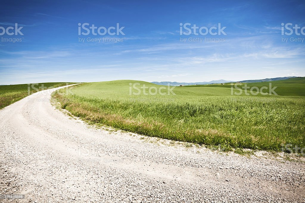 Country Road in Tuscany, Val d'Orcia, Italy royalty-free stock photo