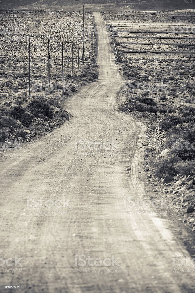 Country Road in Volcanic Landscape, Lanzarote, Canary Islands royalty-free stock photo