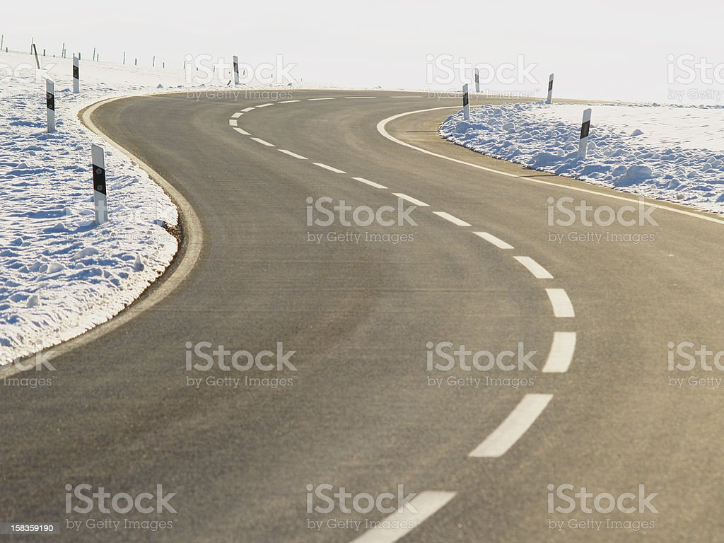 country road in winter season stock photo