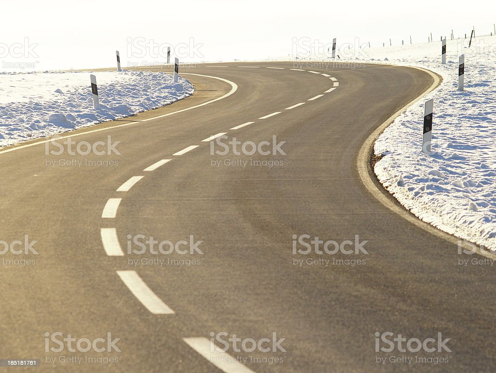 country road in winter season royalty-free stock photo