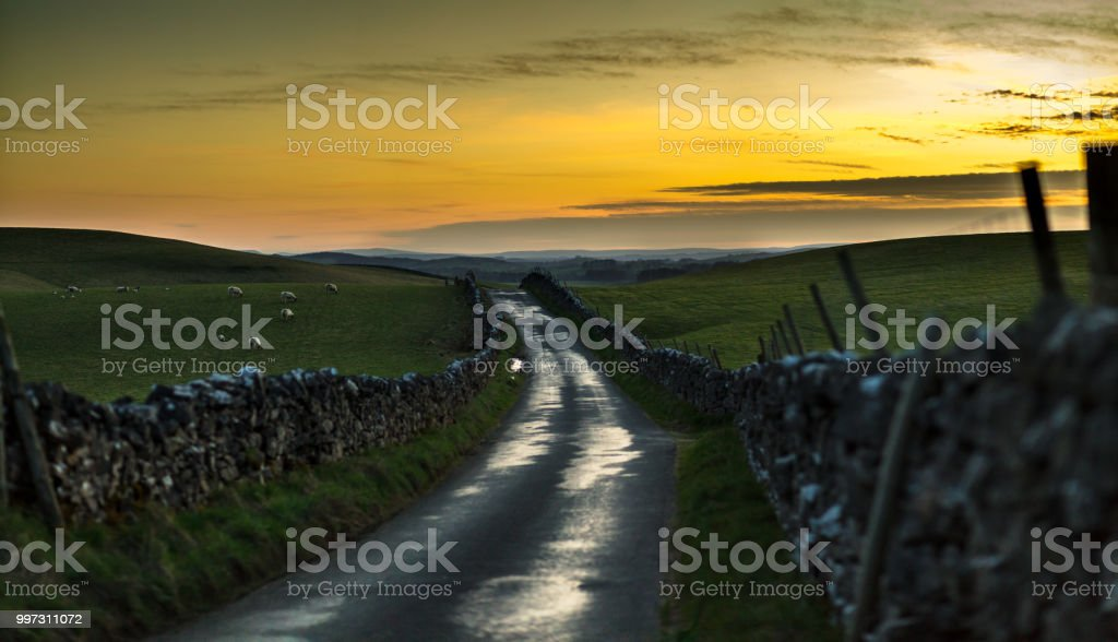 Country Road in Yorkshire Dales stock photo