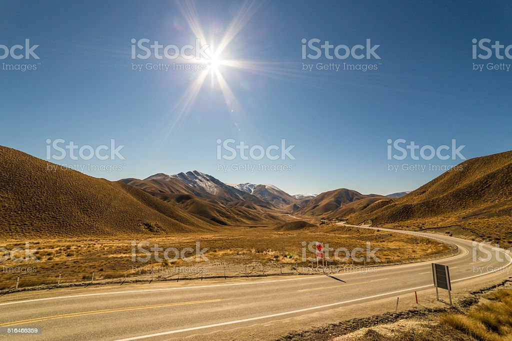 Country Road, Lindis Pass stock photo