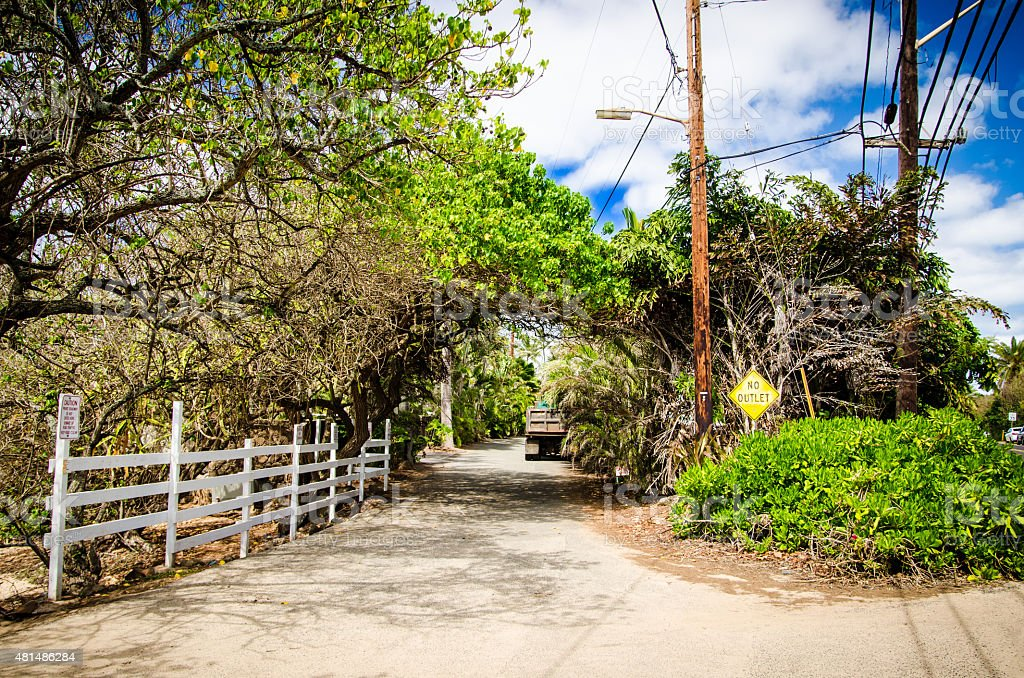 Country road of Oahu stock photo