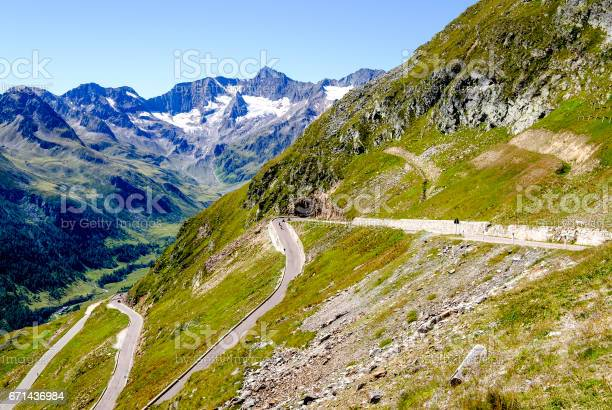 country road at the european alps