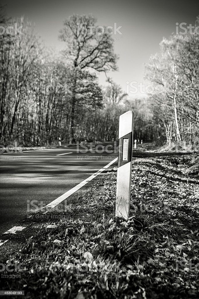 Country road, reflector royalty-free stock photo
