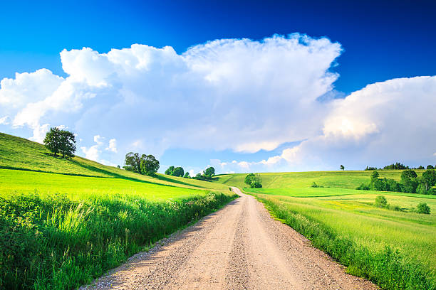 Country Road, Rolling Hills and Valleys - Farmland Landscape stock photo