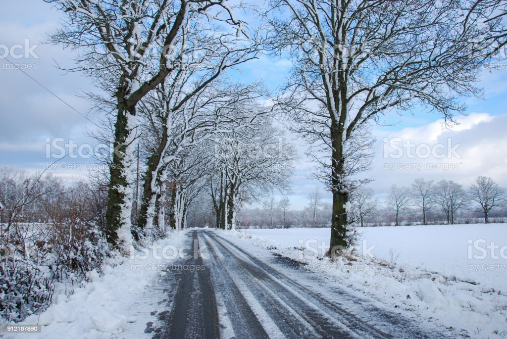 Country road through a wintry landscape stock photo
