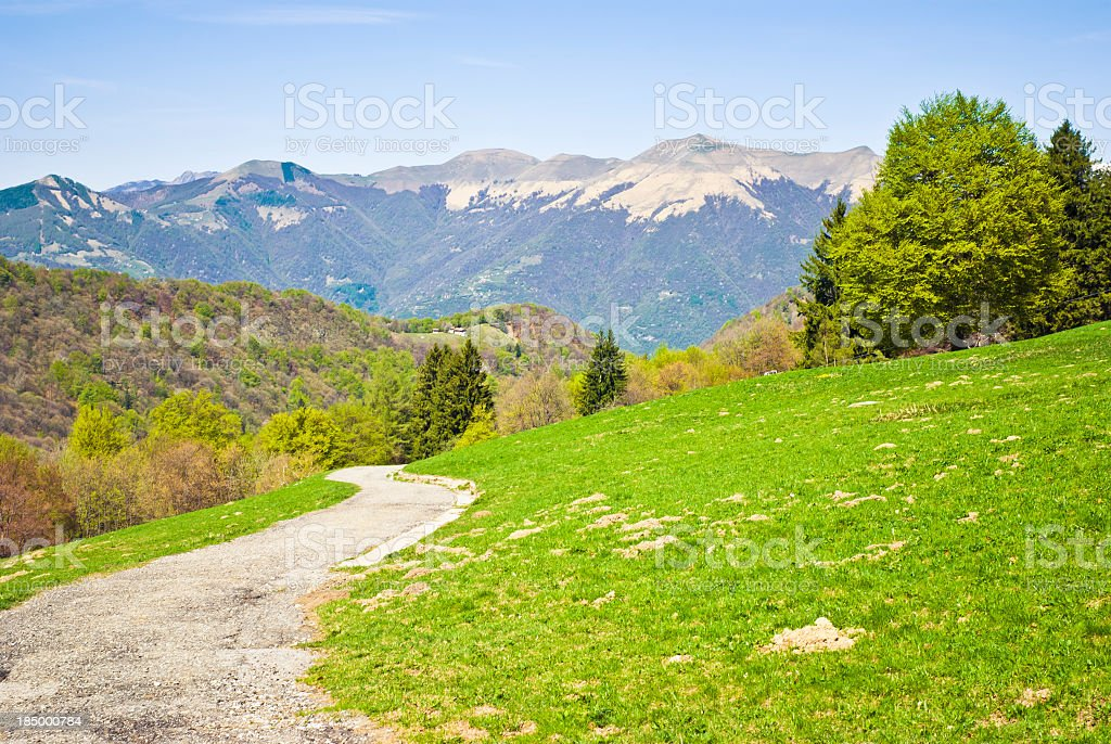 Country Road Through Alps Mountain, Italy royalty-free stock photo