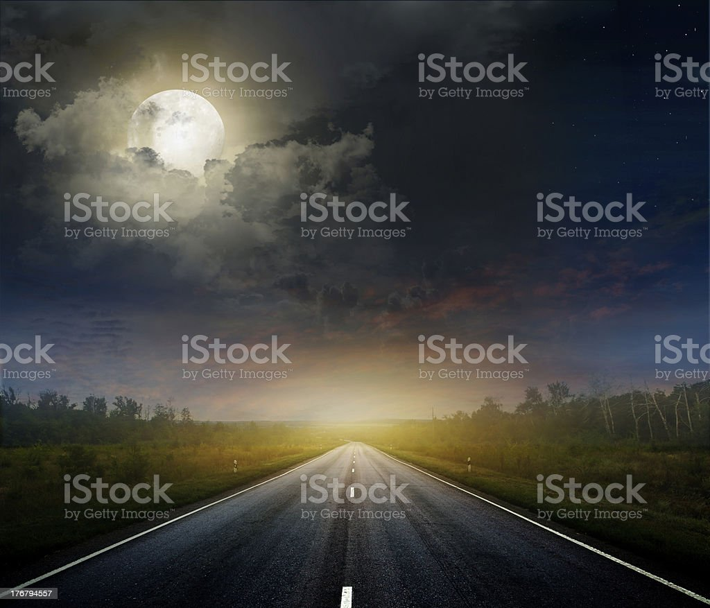 Country road with a dark sky royalty-free stock photo