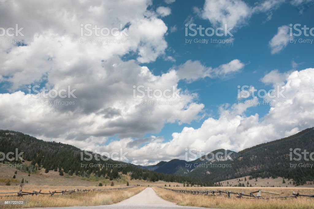 Country road with dramatic sky stock photo