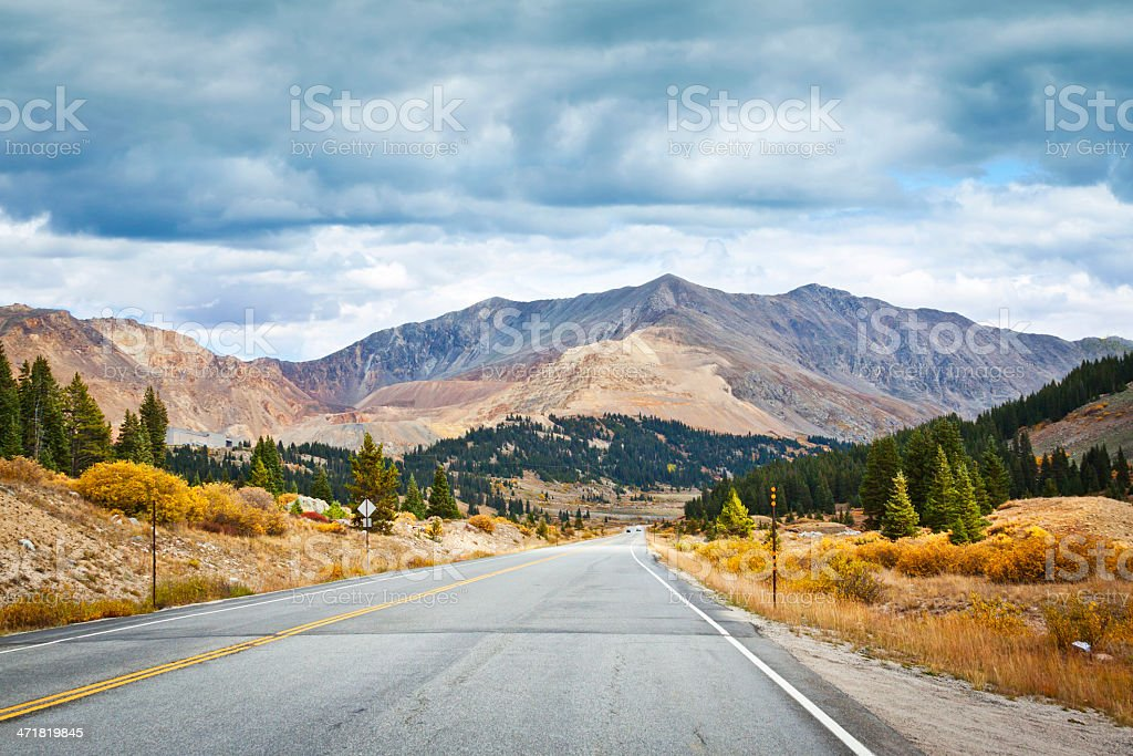 Country Road With Stormy Sky in Colorado royalty-free stock photo