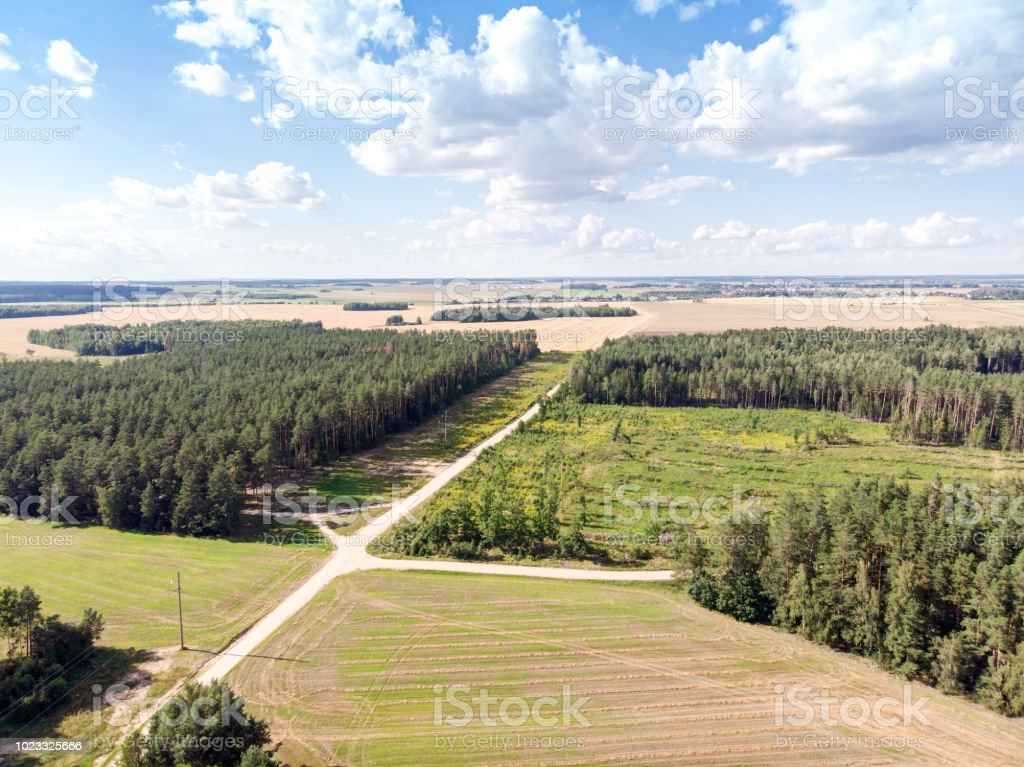 Country Roads Among Green Fields And Forests Aerial Photo