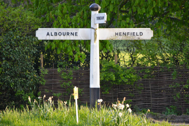 Country Sign Post - Albourne Henfield stock photo