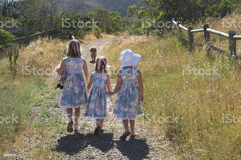 Country Sisters Out For a Walk royalty-free stock photo