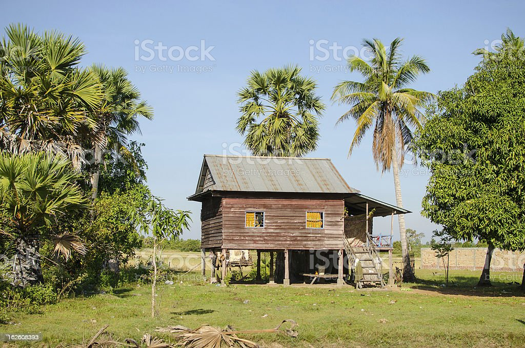 Country stilt house in Cambodia stock photo