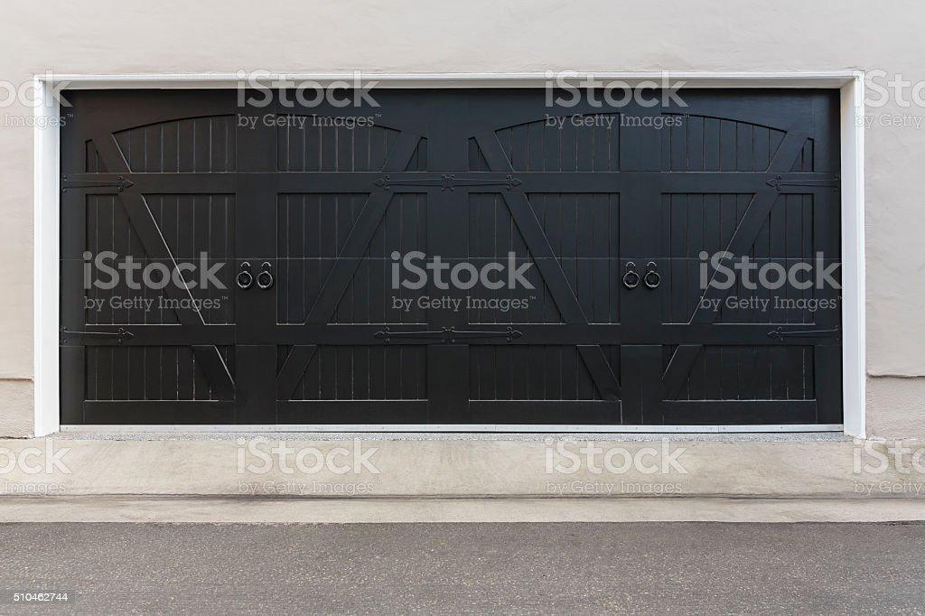 country style brown garage door stock photo