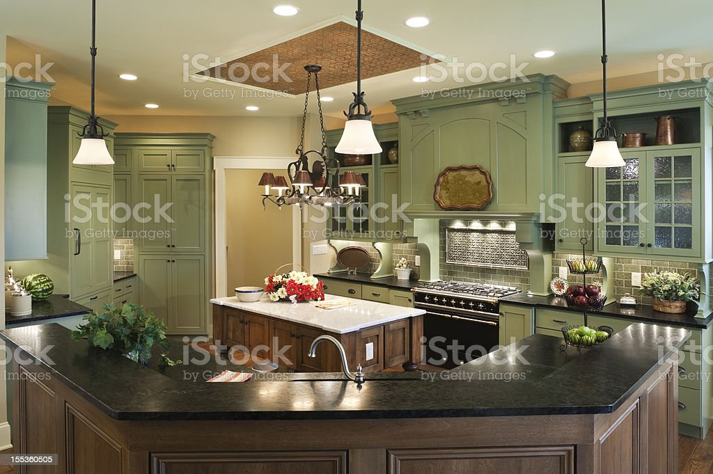 Country style custom kitchen in residential home. royalty-free stock photo