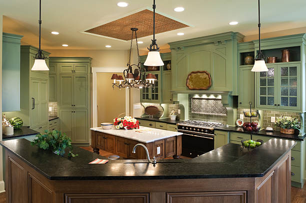 Country style custom kitchen in residential home. stock photo