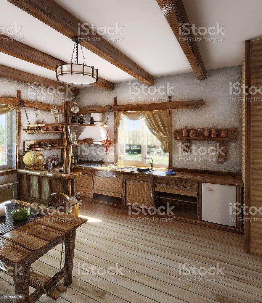 Land Küche interior 3D Render – Foto