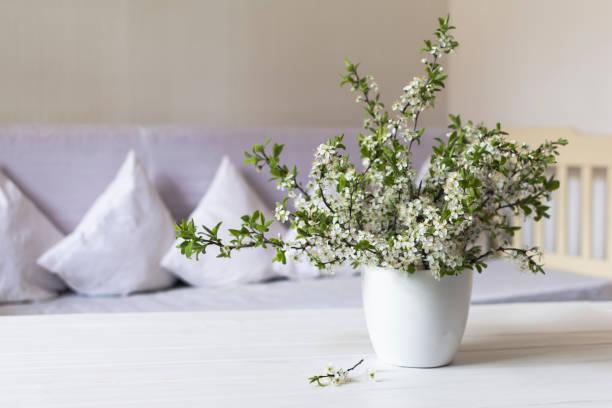 wohnzimmer im country stil. kirsche blüte weiße topf auf holztisch. still-leben - französische land tisch stock-fotos und bilder
