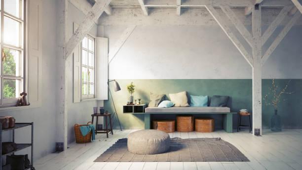sala de estar de estilo rústico. - foto de stock