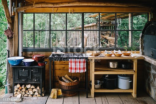 Modern but vintage country house outdoors kitchen.