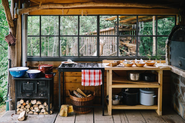 Country style outdoors kitchen stock photo