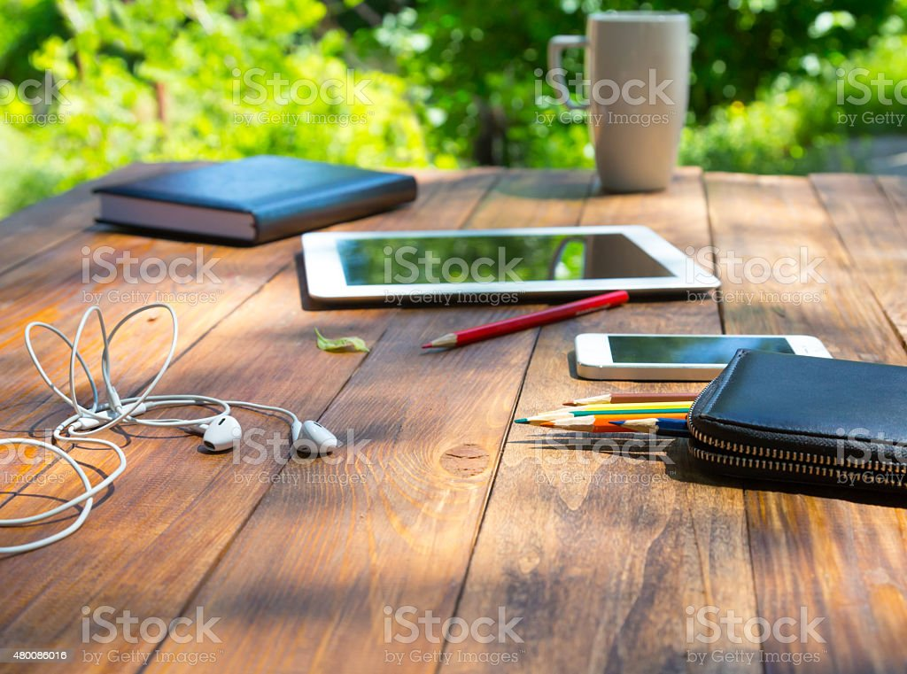 Country style technological composition stock photo