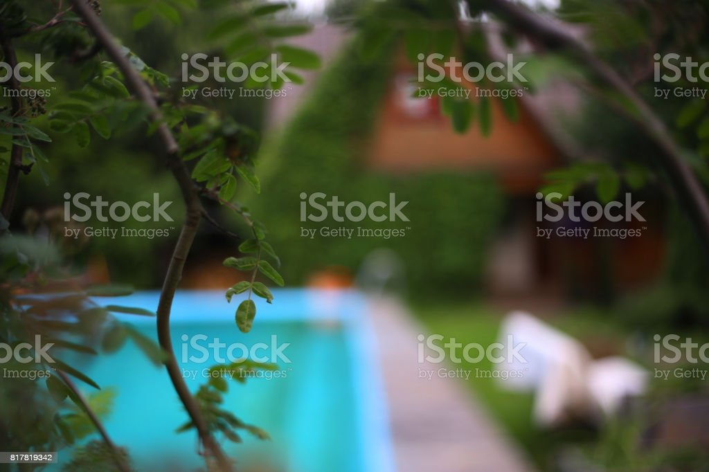 country summer house with ivy with swimming pool stock photo