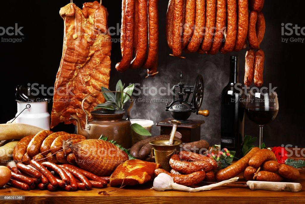 Country table with meat and wine stock photo