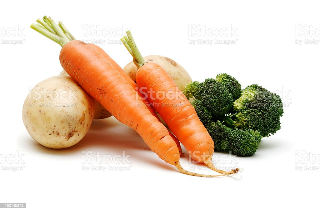 Country vegetables isolated against white, healthy diet stock photo