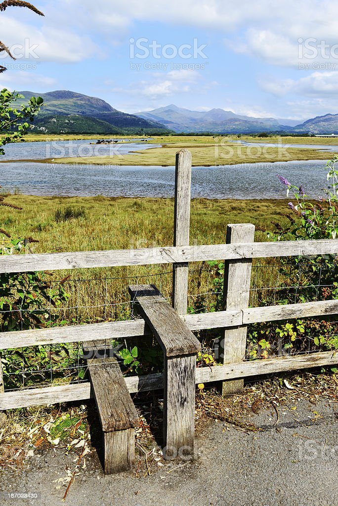 Country view with Stile in Wales royalty-free stock photo