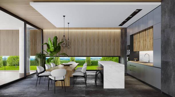 Landvilla industriell rustikale Küche – Foto