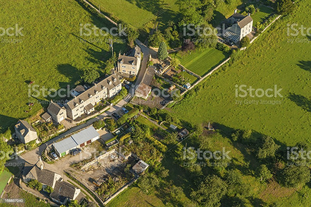 Country village homes farms and fields aerial photo royalty-free stock photo
